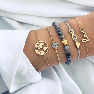 Boho Black Beaded Gold Chain Charm Bracelet Set